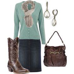 A fashion look from December 2013 featuring vneck cardigan, blue denim skirt and cowgirl boots. Browse and shop related looks.