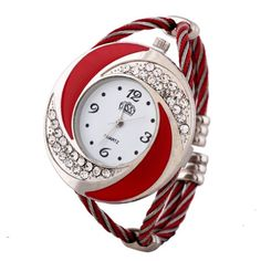 HACBIWA Womens Ladies Girls Rhinestone Steel Quartz Watch Red Band Watches