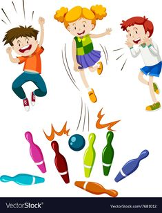 Children playing game of bowling vector image on VectorStock Free Christian Clip Art, Kids Room Bed, Music Week, Theory Of Love, Beautiful Songs, Bowling, Kids Sports, Happy Fathers Day, Games To Play