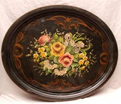 1: 2 mid century tole trays, incl