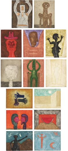 Rufino Tamayo - 15 Aguafuertes: 14 plates, 1975 (etchings in colours with carborundum on Guarro paper)