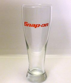"Clear Snap On Tools 24oz Pilsner Beer Glass 9.25"" Tall Mechanic Automotive #SnapOn"