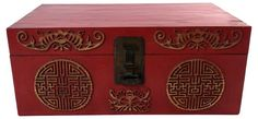 Antique+Red+Lacquer+Trunk,+C.+1890
