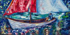 """ARTFINDER: Sail Away With Me by Lena  Owens  - A Heavy Textured Painting oil Painting Contemporary on Canvas 10""""x20""""x2"""" Textured with palette knife, ready to hang. OLena Art My palette knife oil impasto t..."""