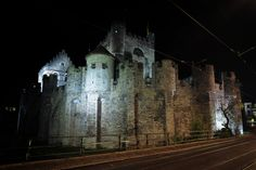gravensteen, Gent Cathedral, Building, Travel, Pictures, Night, Viajes, Buildings, Cathedrals, Destinations