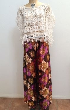 1970s Vintage Crushed Velvet Psychedelic Palazzo Pants by reLoves, $50.00