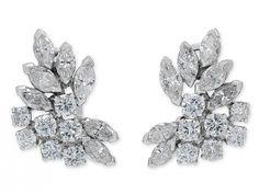 Beladora Bespoke Diamond Cluster Earrings in 14K White Gold