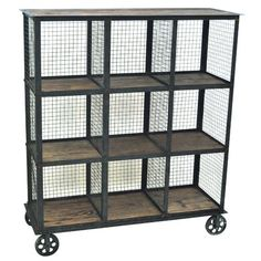 Industrial Metal And Wood Bookcase By Crestview Collection from The Rustic Furniture Store. Saved to Things I want as gifts. Regal Industrial, Industrial Interior Design, Vintage Industrial Furniture, Industrial Shelving, Industrial House, Antique Furniture, Industrial Style, Vintage Shelving, Furniture Hardware