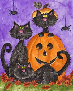 Three Black Cats by Sara Mullen ~ Halloween