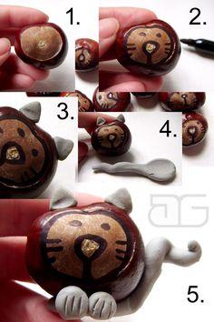 mali artyści: Kasztanowe kotki - proste zabawy z kasztanami - instrukcja krok po kroku.