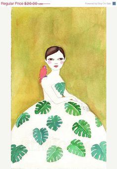 Monstera Girl print of original watercolor
