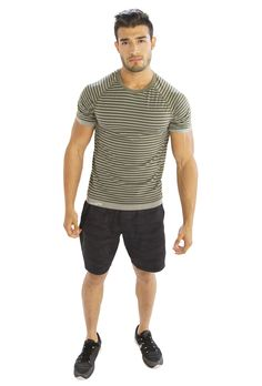 Shop for wholesale Striped Grey Half Sleeve T-Shirt by visiting https://www.clothingdropshipping.com/product/srtiped-grey-half-sleeve-t-shirt/
