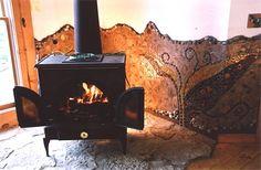 Tile Behind Wood Stoves | ... Michigan - wall behind wood burning stove, ceramic tile, river stones