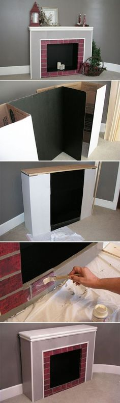 If you don't have a fireplace, but still want to hang stockings and decorate a mantel, you can craft one out of cardboard! Using cardboard display boards (ones students use for science projects), you can build a realistic (and lightweight) fireplace. Magical Christmas, All Things Christmas, Christmas Holidays, Mexico Christmas, Office Christmas, Christmas Quotes, Christmas Music, Christmas Carol, Christmas Nails