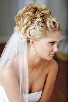 63 Trendy Wedding Hairstyles For Long Hair Updo High Hairdo Wedding, Wedding Hairstyles For Long Hair, Wedding Hair And Makeup, Wedding Hair Accessories, Bride Hairstyles, Bridal Hair, Wedding Veils, Bridal Veils, Curly Hairstyles