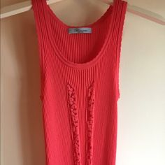 Blumarine coral lace top Like new from current season. Front lace top. Size small. Cute top for summer! Blumarine Tops Tank Tops