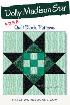 DOLLY MADISON STAR - a Variation. this quilt block is two nine patches in one -- the centre checkerboard and the completed block. Beginner Quilt Patterns Free, Quilt Square Patterns, Barn Quilt Patterns, Pattern Blocks, Square Quilt, Star Quilt Blocks, Star Quilts, Nine Patch Quilt, Quilted Gifts