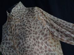 Vintage blouse leopard print silk chiffon large