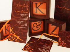 Orange and brown wedding stationery