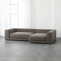 Two super-easy, super-scaled pieces make one roomy hangout. Super-deep with low angled back for lazy lounging and piles of pillows. Clean modern texture in tight poly-cotton weave. Deep Couch, Deep Sectional, 2 Piece Sectional Sofa, Modern Sectional, Leather Sectional, Lounge Sofa, Living Furniture, Living Room Sofa, Bedroom Furniture