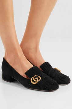 Gucci - Marmont Fringed Suede Loafers - Black - IT36.5