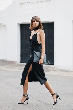 little black slip dress