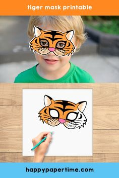 Tiger mask printable. This cute printable mask is perfect for a safari party or just an afternoon craft with the kids.  A great way to entertain any tiger fan out there. Check out our other available printable crafts.  #safariparty #tiger #printablemask #tigermask #tigercraft #kidscraft #kidsactivity