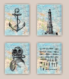 Nautical Prints, Lighthouse, anchor, sailor knots, scuba diver helmet, Set 4 prints 11x14, sailing map art, coastal decor, beach living by PrintLand on Etsy https://www.etsy.com/listing/176550062/nautical-prints-lighthouse-anchor-sailor