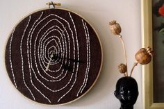 embroidery hoop for a clock. by blissinateacup on etsy.
