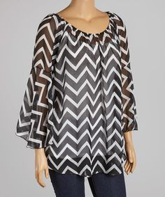 Look at this Black Zigzag Bell-Sleeve Top on #zulily today!