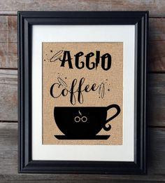 ACCIO Coffee Harry Potter Burlap Print, Rustic Kitchen Decor, Funny Kitchen Print