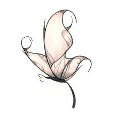 Pink Cute Simple Butterfly Tattoo Design