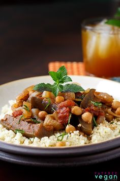 Mussaka: This Middle Eastern eggplant dish, called Mussaka or M'saka, is seasoned with pomegranate molasses and spices for an aromatic, slightly sweet-tangy flavor. #vegan #eggplant #recipe #wfpb #weightwatchers