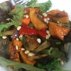 Today's lunch! Roast vege, salad & balsamic dressing Balsamic Dressing, Roast, Salad, Lunch, Drink, Baking, Vegetables, Ethnic Recipes, Inspiration