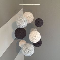 Yarn Ball Mobile in Marbled Grey, Antique White & Charcoal by Backporchcrafts85 on Etsy