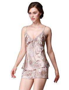 47434a2c248 Women s Short Satin Cami Set Enchanting Pajama Sexy Strap Sleepwear Set -  Style1-camel -