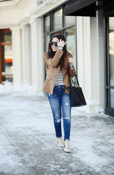 Love is a blazer. - corilynn. White and black striped long sleeved tee+ripped jeans+taupe flats+camel blazer+black tote bag+black sunglasses. Spring Smart Casual Outfit 2017