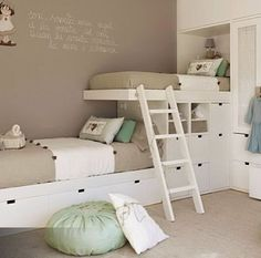 Dream kids rooms | bunk beds | room sharing | small spaces | white | neutral | mint