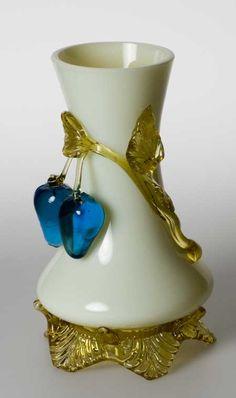 Stevens Williams Glass Co. | ... -No-Ke glass vase applied plums blueberries Stevens and Williams Webb