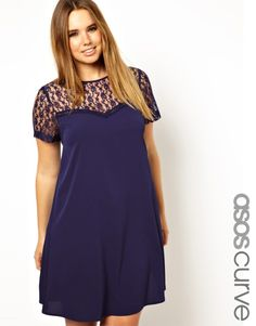 ASOS CURVE - Swing Dress With Lace Insert
