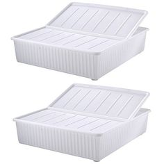 Set of 2 80 Litre Deluxe Plastic Underbed Storage Boxes With Lid