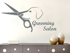 Wall Decals Quote Grooming Salon Decal Dog Scissors Vinyl Sticker Pet-Shop Grooming Salon Home Decor Art Mural Ms534