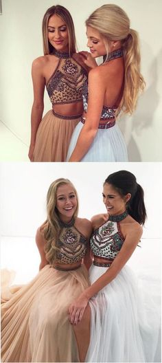 Cute Halter Neck Light Sky Blue Open Back 2 Piece Tulle #PromDresses with Beading,Long tulle homecoming dresses