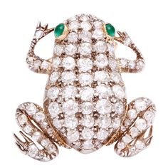 Antique Diamond Frog Brooch | From a unique collection of vintage brooches at https://www.1stdibs.com/jewelry/brooches/brooches/