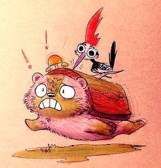 Sketchbook Daily 59# - Hedgelog vs. Woodpecker
