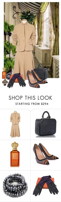 """Ready for tea party with the Queen."" by newsjoan ❤ liked on Polyvore featuring Ralph Lauren Collection, Louis Vuitton, Clive Christian, Christian Louboutin, Hermès and Chanel"
