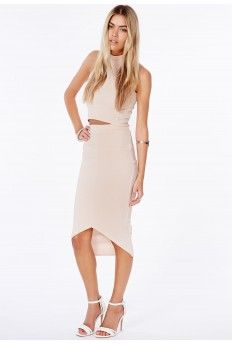 Elanor Ribbed Curve Hem Midi Skirt In Nude