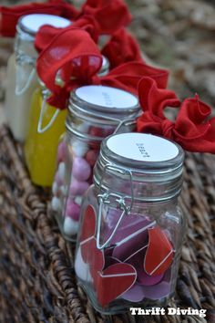 Here's an easy Valentine's Day idea: Fill a jar with paint chips cut out as hearts and then write love quotes on them. Give them to someone special! See more DIY Valentine's Day cheap idea ideas in the post!