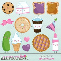 Perfect Pair Cute Digital Clipart for Invitations, Card Design, Scrapbooking… Couple Clipart, Things That Go Together, Cute Food Drawings, Clip Art Pictures, Scrapbooking, Kawaii Cute, Food Illustrations, Planner Stickers, Doodles