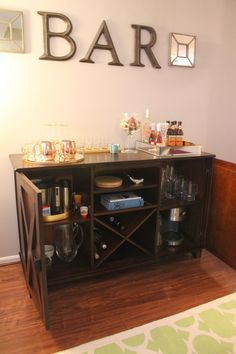 Home Bar Furniture – How to Find What's Right For You. World Market Bar/Buffet Styling Home Bar Furniture, Furniture Ideas, Amish Furniture, Home Bar Areas, Liquor Bar, Bar Cart Decor, Sweet Home, Inspiration Design, Contemporary Home Decor